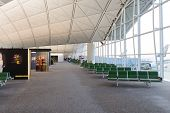 HONG KONG - APRIL 17: Airport interior on April 17, 2014 in Hong Kong. Hong Kong International Airport  is one of the best airport in the annual passenger survey by Skytrax.