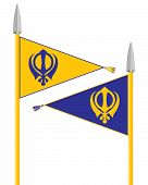 picture of sikh  - an illustration of the nishan sahib the flag of the sikhs in saffron and blue with spear poles on a white background - JPG