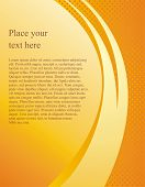 Document vector page template with abstract orange wave. Yellow modern brochure, poster, business