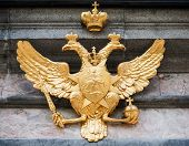 Golden Double Eagle On Stone Wall. Coat Of Arms Of Russian Federation