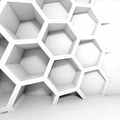 Abstract White 3D Interior With Honeycomb On The Wall