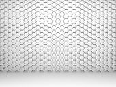 White Abstract 3D Interior With Honeycomb Pattern On The Wall
