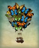 Butterfly hot air balloon high in the sky