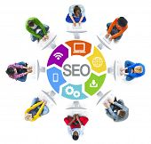 Multi-Ethnic Group of People and SEO Concepts
