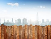Urban Scene with Wooden Plank Fence