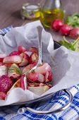 stock photo of vedic  - cooked roasted radishes lying in the form of heat-resistant ** Note: Shallow depth of field - JPG