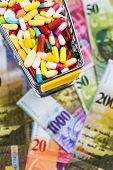 tablets, shopping cart, swiss franc, symbol photo for drugs, health insurance, health care costs