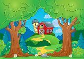 Tree theme with farm 1 - eps10 vector illustration.