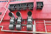 picture of hvac  - Building Commercial HVAC Heating and Cooling System Exhaust Fans and Vents - JPG