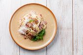 Pasta Carbonara With Parmesan Wooden Background
