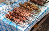 Fresh Portion Of Shish Kebab (shashlik) On Table Outdoor