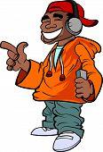 Cartoon hip hop fan