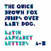 Geometric shapes alphabet letters with shadow. Retro font. Latin alphabet letters