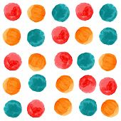 Vector watercolor circles seamless pattern. Retro stile hand drawn ornament. Painted colorful orname