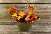 Autumn Decorations On Weathered Wood