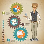 Template For Infographic With Symbol Of The Business Process With Geek In Vintage Style