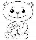 Teddy bear with a gift box, contours