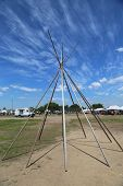 Frame of Wigwam installed at the NYC Pow Wow