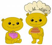 Teddy bears with cake and gift box
