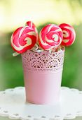 spiral pink sugar lollipops