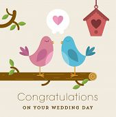 Love birds on a branch wedding card