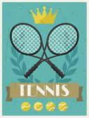 Tennis. Retro poster in flat design style.