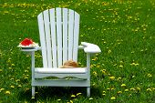 Slice of watermelon on adirondack chair on the grass