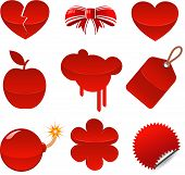 Set of red symbols