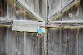 Wooden Barn Door With Iron  Blue Lock Hanging