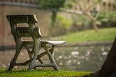 stock photo of bus-shelter  - Benches light gray Placed in the park - JPG