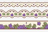 Set of  borders with abstract roses.