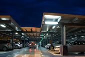 VALENCIA, SPAIN - JUNE 25, 2014: Inside the parking garage at the Valencia airport.  Situated 8 km f
