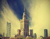 Warsaw (warszawa) City Modern Downtown, Poland, Vintage Retro Style.