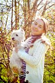 picture of west highland white terrier  - a woman with west highland white terrier - JPG