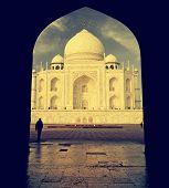 Interesting View Of Taj Mahal, India, Vintage Retro Style.
