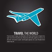 Airplane air fly sky blue travel background