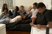stock photo of blunt  - Teenagers drinking and smoking - JPG