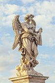 Statue of The Angel Carrying the Scouragel  on the bridge leading to the Castle Sant'Angelo, Rome. Designed by Bernini for Pope Clement IX. Sculpted between 1667 and 1669.