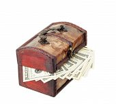 Wooden Chest With Dollars