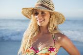 Gorgeous blonde in straw hat and bikini smiling on beach on a sunny day