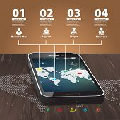 Template For Infographic With Mobile Phone With Wooden Background And World Map