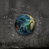 Earth planet on dark background with pencil sketches. Elements of this image are furnished by NASA