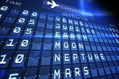 Digitally generated blue departures board for space travel