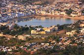 picture of saraswati  - Aerial view of Pushkar city Rajasthan India - JPG