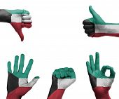 stock photo of kuwait  - A set of hands with different gestures wrapped in the flag of Kuwait - JPG