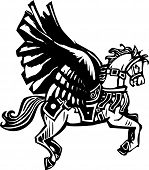 picture of pegasus  - Woodcut style image of a mythical Pegasus in full bridal gear - JPG