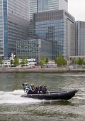 LONDON, UK - MAY 17, 2014  German army military ship present safe fast boat