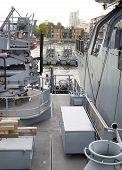 LONDON, UK - MAY 17, 2014: German army military ships based in Canary Wharf aria, to be open for pub