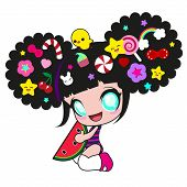 Cute kawaii girl with watermelon and lots of fun pins on the head with chicken