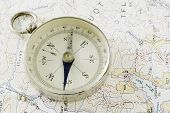 Antique Compass and Prospecting Map